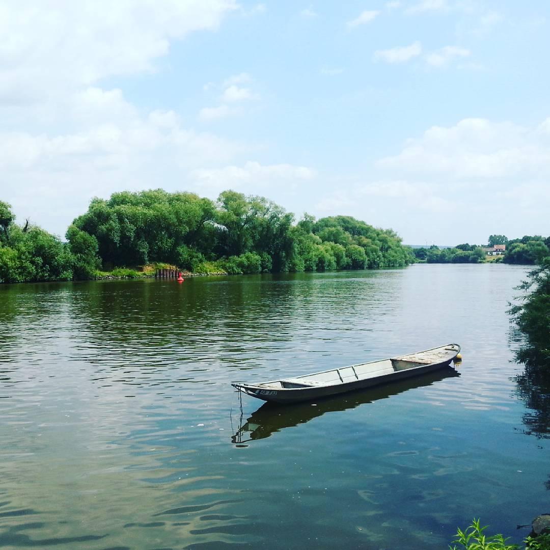 Fischerboot im Main vor Seligenstadt