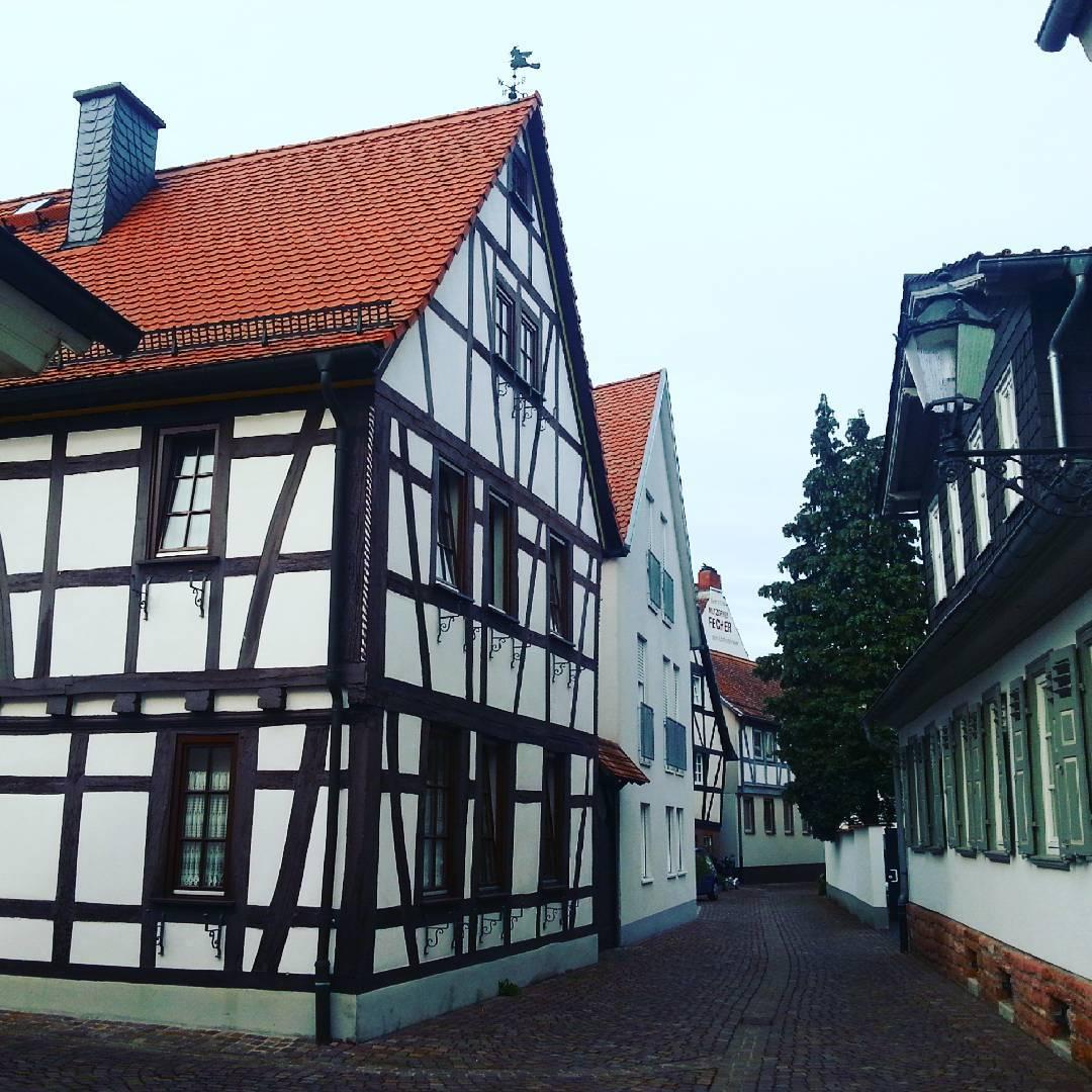Das ist eine typische kleine Straße mit Fachwerkhäusern direkt neben vollständig verputzten Häusern und Häusern mit Ziegelfassade am Rand der Altstadt. Im Hintergrund sieht man die Metzgerei Fecher und seht ihr vorne die Hexe auf dem Dach?