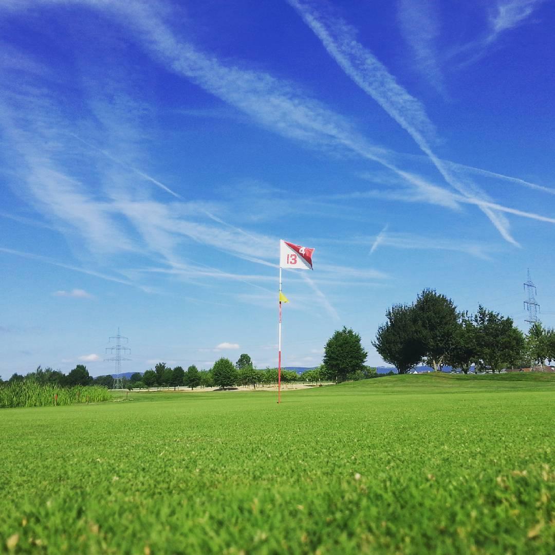 Dieses Foto entstand auf dem Golfplatz mitten im Hochsommer. Der grüne Rasen stach im Gegensatz zu den ausgetrockneten Wiesen rundherum auffällig hervor. Ein kleines Idyll für sich
