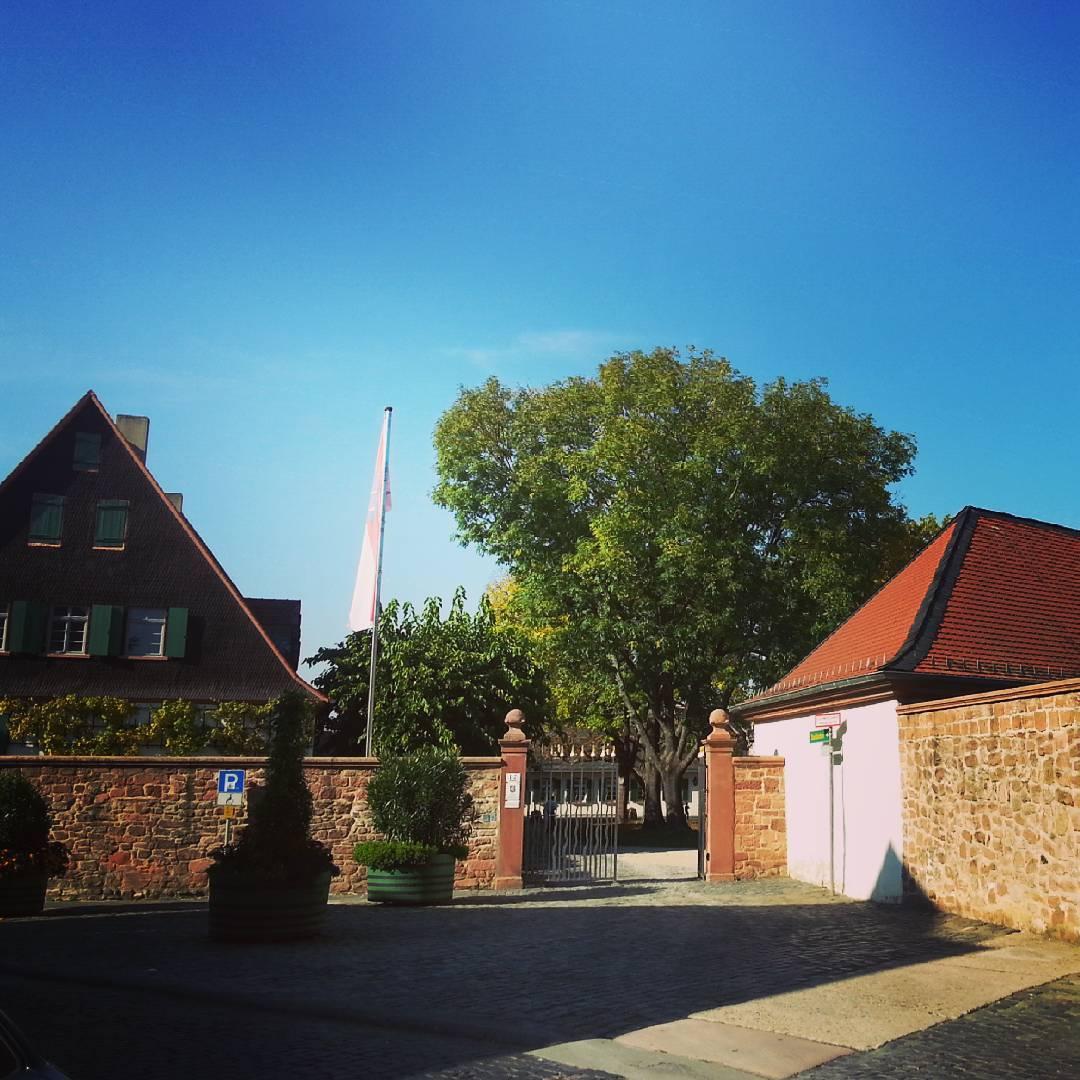 Der Eingang zum Klosterhof der ehemaligen Benediktinerabtei aus der Aschaffenburger Straße