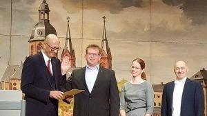 Amtseinführung von Gerheim mit Stadtverordnetenvorsteher Dr. Georgi